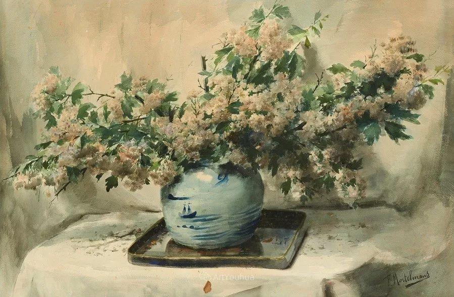 花卉静物画,比利时画家Frans Mortelmans插图23