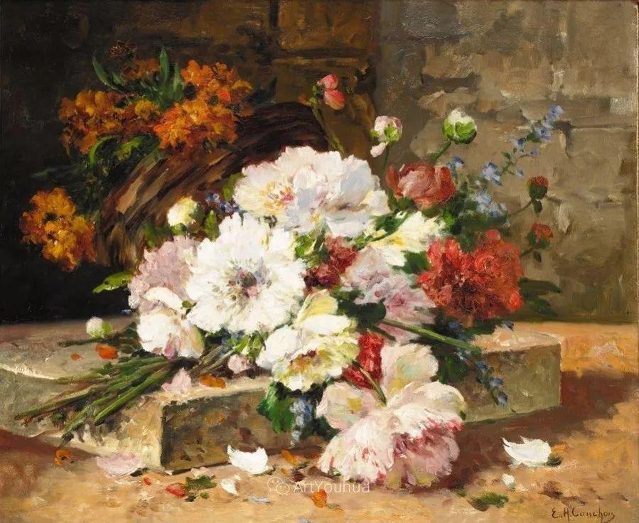 他对浪漫主义情有独钟,花卉很赞!法国Eugène Henri Cauchois插图