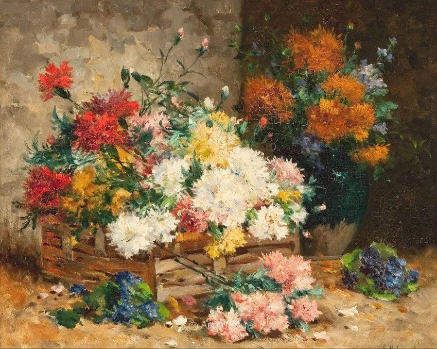 他对浪漫主义情有独钟,花卉很赞!法国Eugène Henri Cauchois插图1
