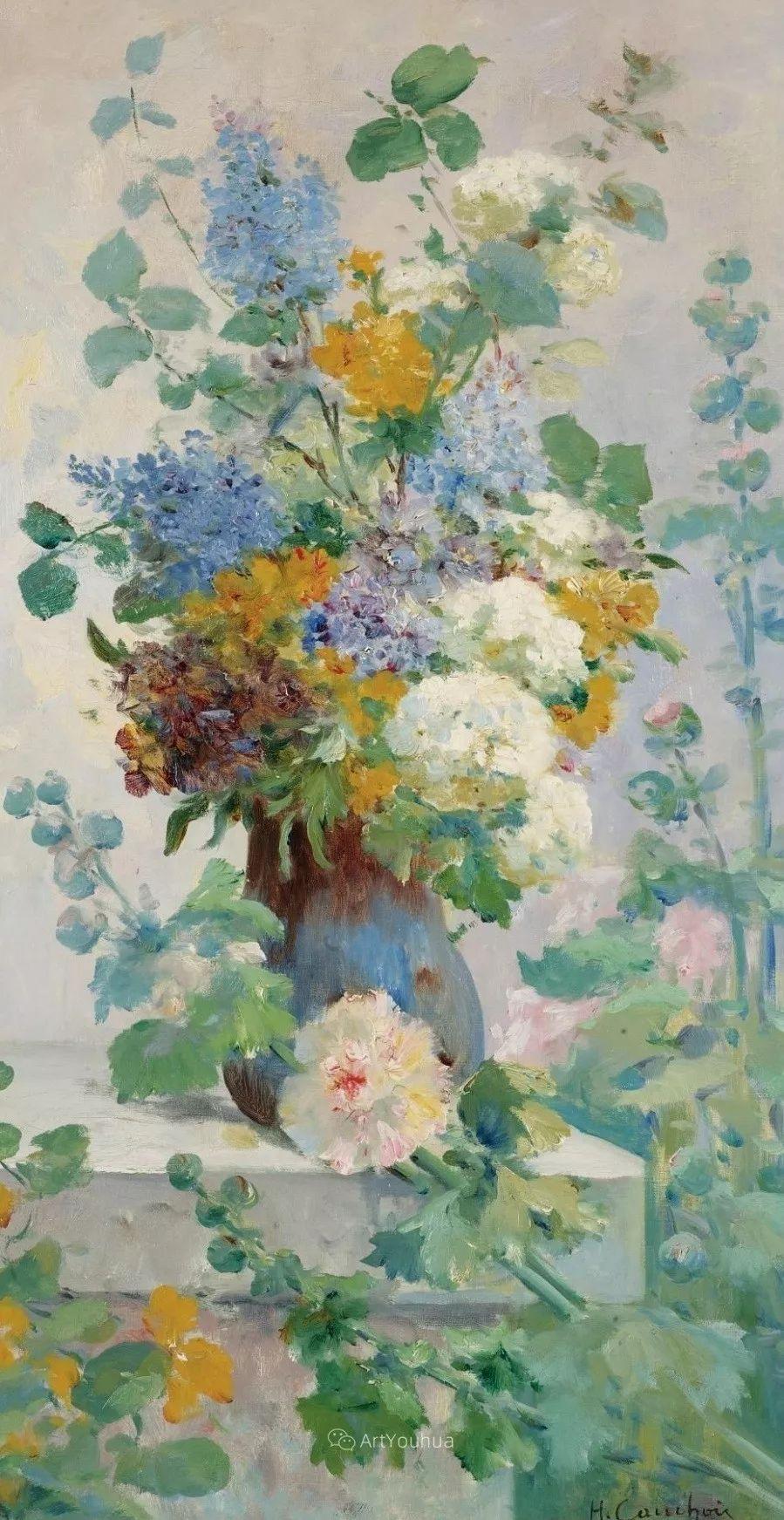 他对浪漫主义情有独钟,花卉很赞!法国Eugène Henri Cauchois插图3