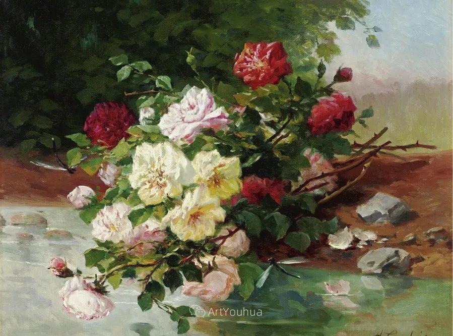 他对浪漫主义情有独钟,花卉很赞!法国Eugène Henri Cauchois插图4