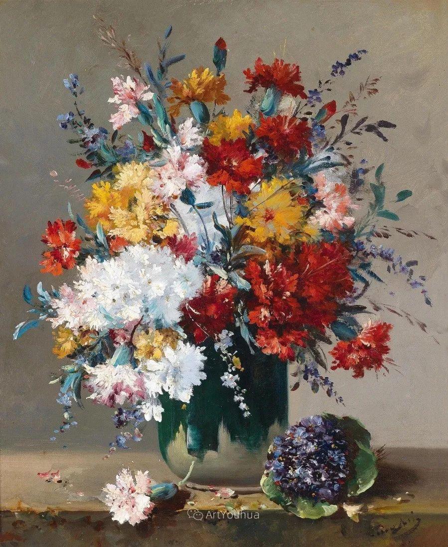 他对浪漫主义情有独钟,花卉很赞!法国Eugène Henri Cauchois插图5