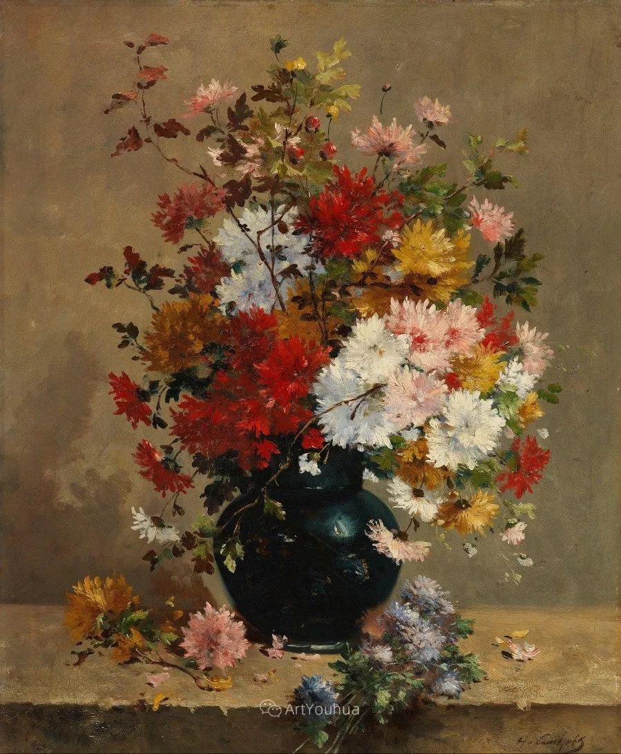 他对浪漫主义情有独钟,花卉很赞!法国Eugène Henri Cauchois插图6