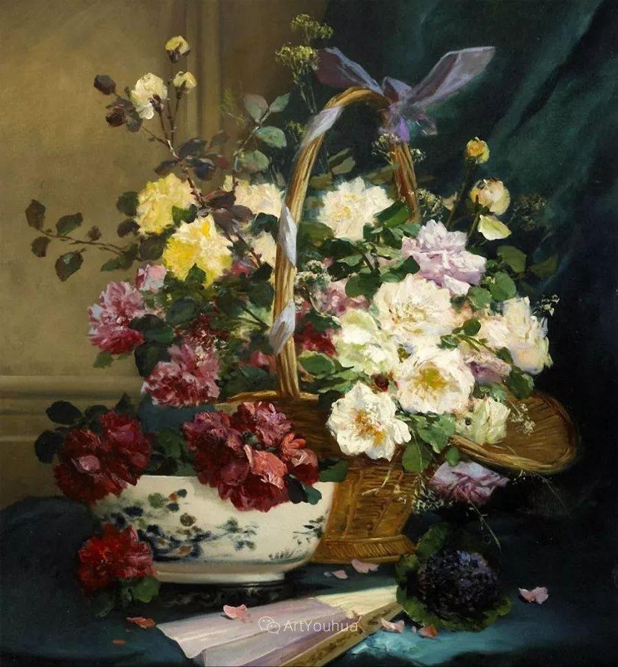 他对浪漫主义情有独钟,花卉很赞!法国Eugène Henri Cauchois插图7