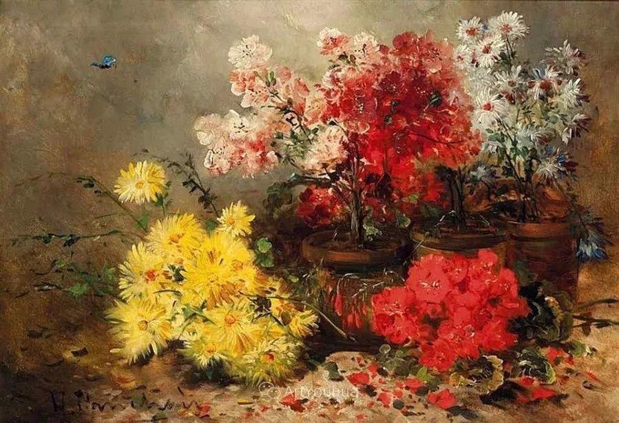 他对浪漫主义情有独钟,花卉很赞!法国Eugène Henri Cauchois插图9