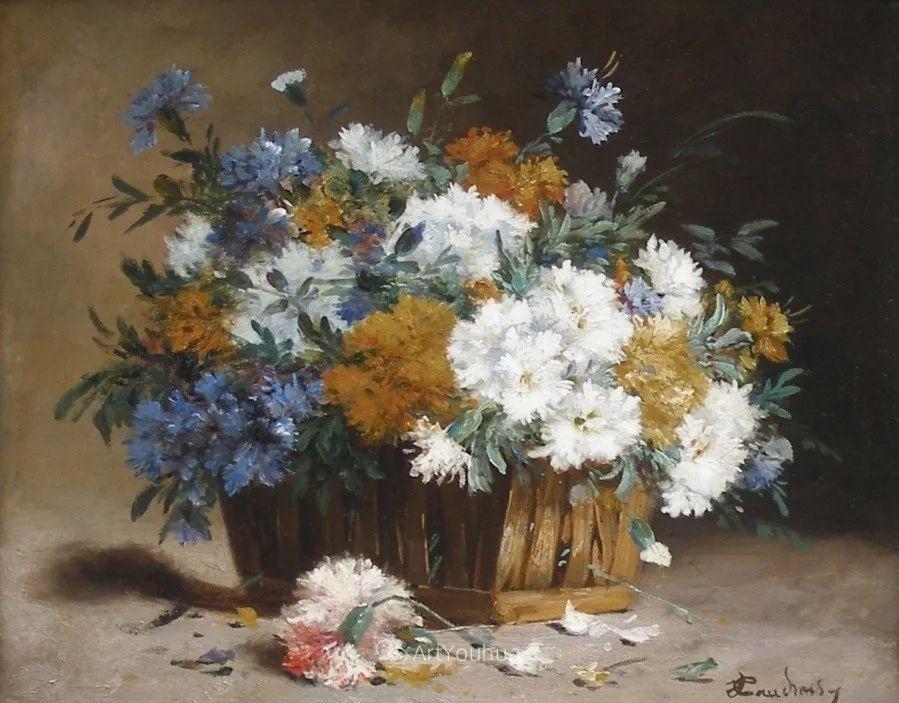 他对浪漫主义情有独钟,花卉很赞!法国Eugène Henri Cauchois插图10
