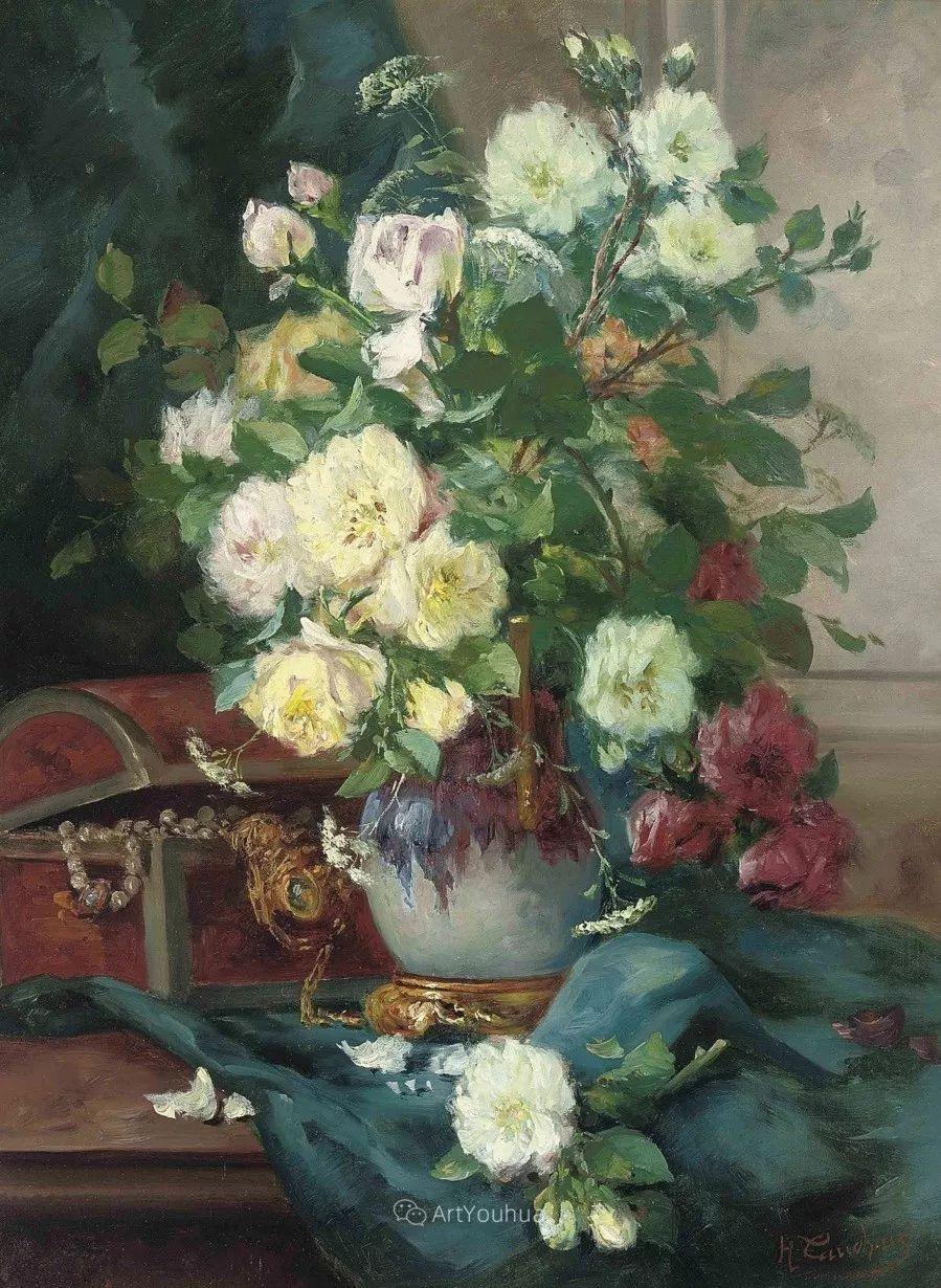 他对浪漫主义情有独钟,花卉很赞!法国Eugène Henri Cauchois插图13