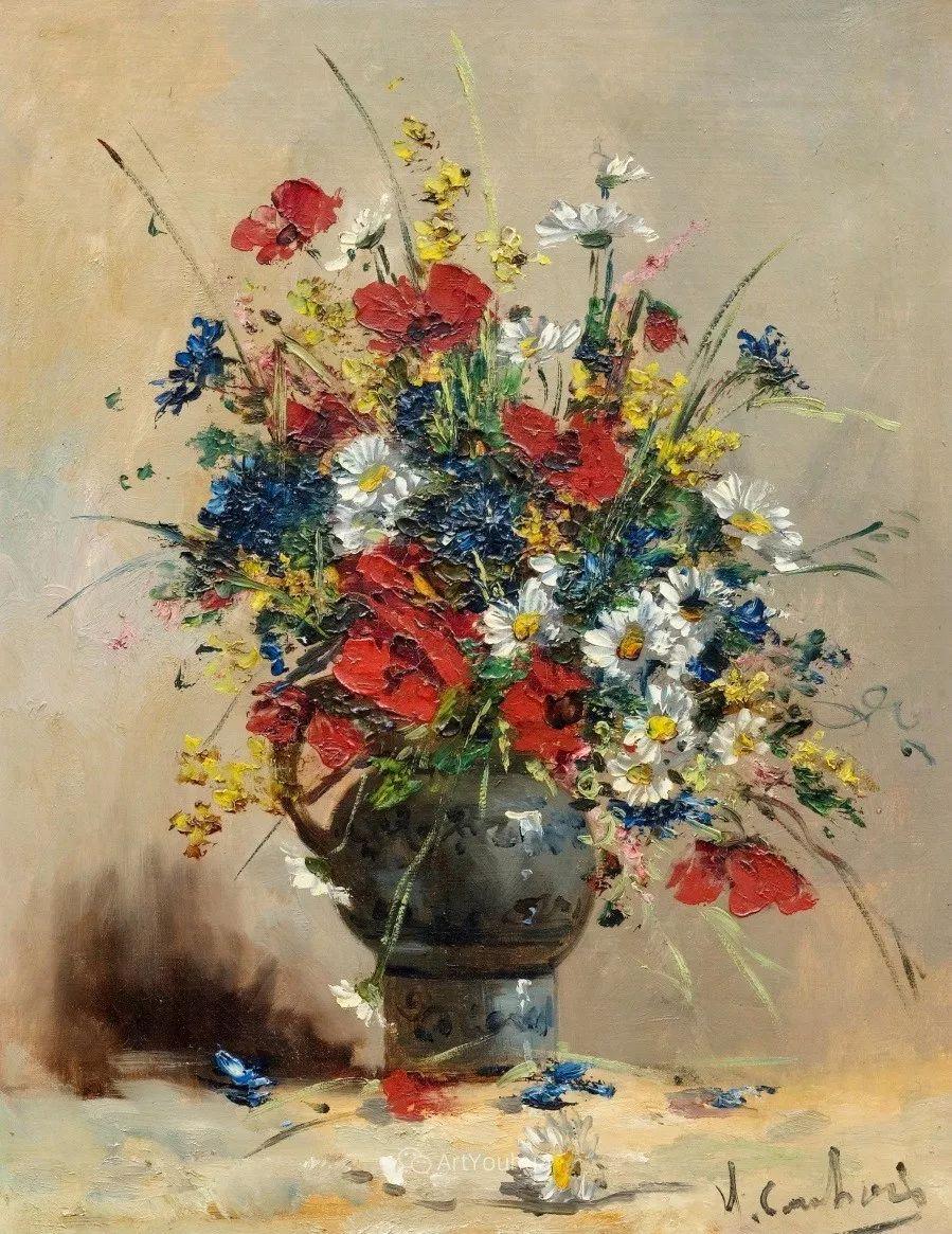 他对浪漫主义情有独钟,花卉很赞!法国Eugène Henri Cauchois插图14