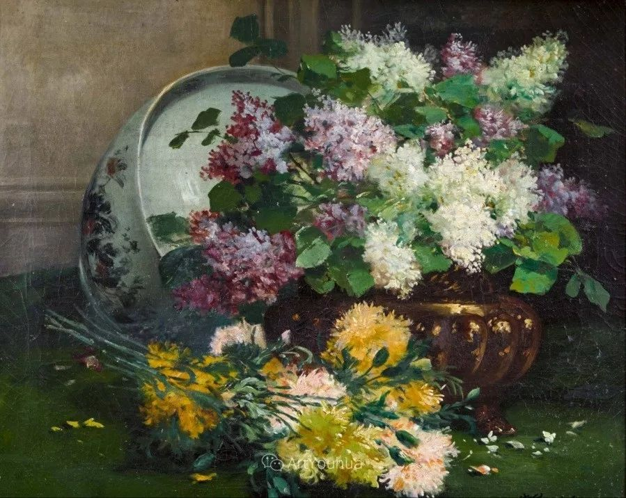 他对浪漫主义情有独钟,花卉很赞!法国Eugène Henri Cauchois插图15