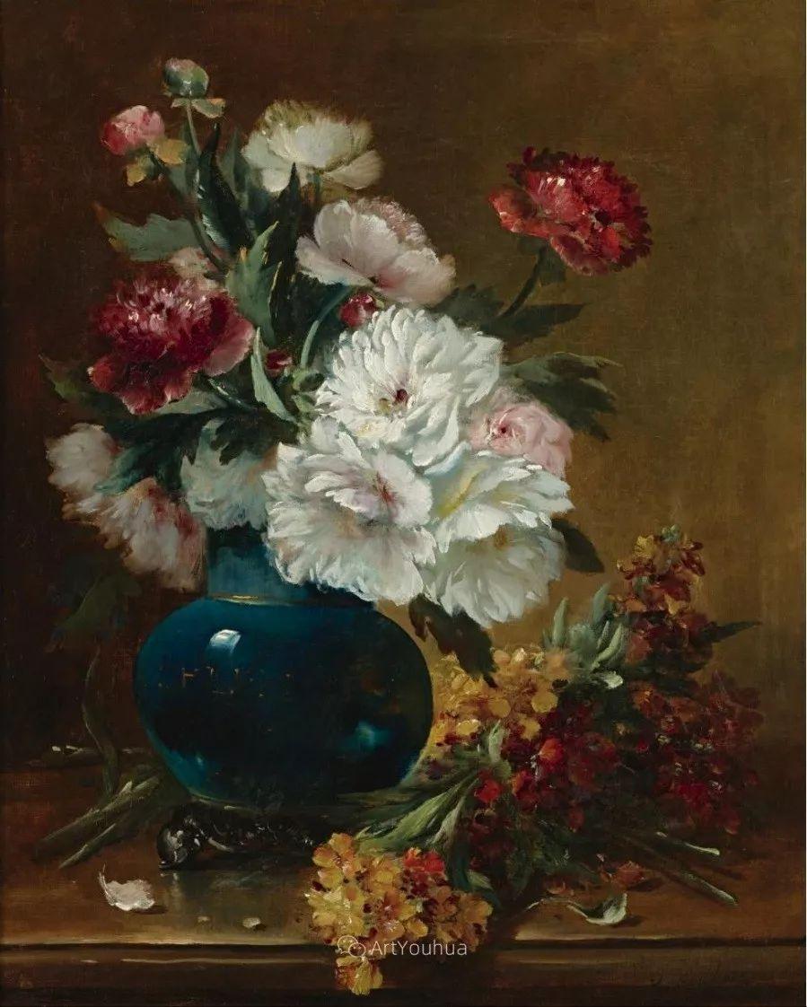 他对浪漫主义情有独钟,花卉很赞!法国Eugène Henri Cauchois插图16