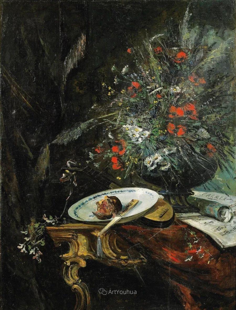 他对浪漫主义情有独钟,花卉很赞!法国Eugène Henri Cauchois插图17