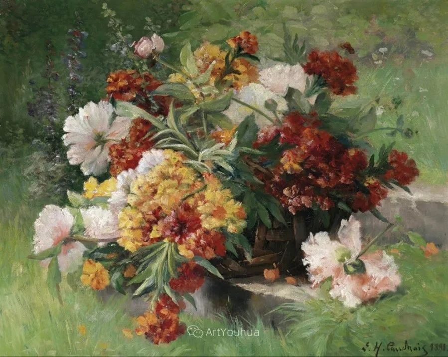 他对浪漫主义情有独钟,花卉很赞!法国Eugène Henri Cauchois插图18