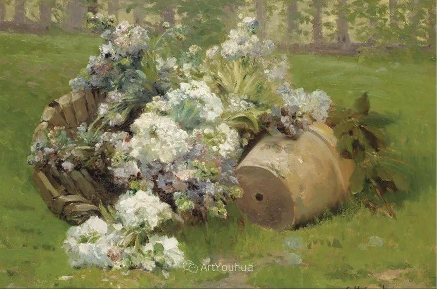 他对浪漫主义情有独钟,花卉很赞!法国Eugène Henri Cauchois插图19