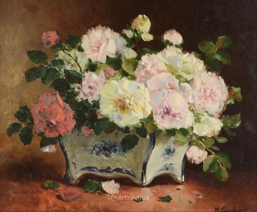 他对浪漫主义情有独钟,花卉很赞!法国Eugène Henri Cauchois插图20