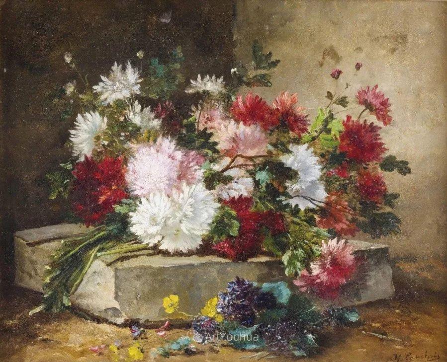 他对浪漫主义情有独钟,花卉很赞!法国Eugène Henri Cauchois插图22