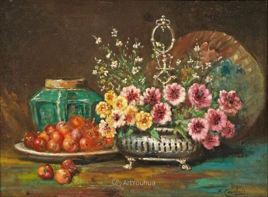 他对浪漫主义情有独钟,花卉很赞!法国Eugène Henri Cauchois插图25