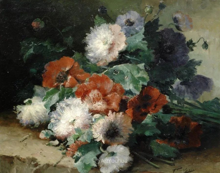 他对浪漫主义情有独钟,花卉很赞!法国Eugène Henri Cauchois插图26
