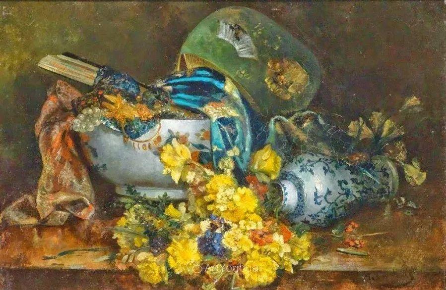 他对浪漫主义情有独钟,花卉很赞!法国Eugène Henri Cauchois插图28