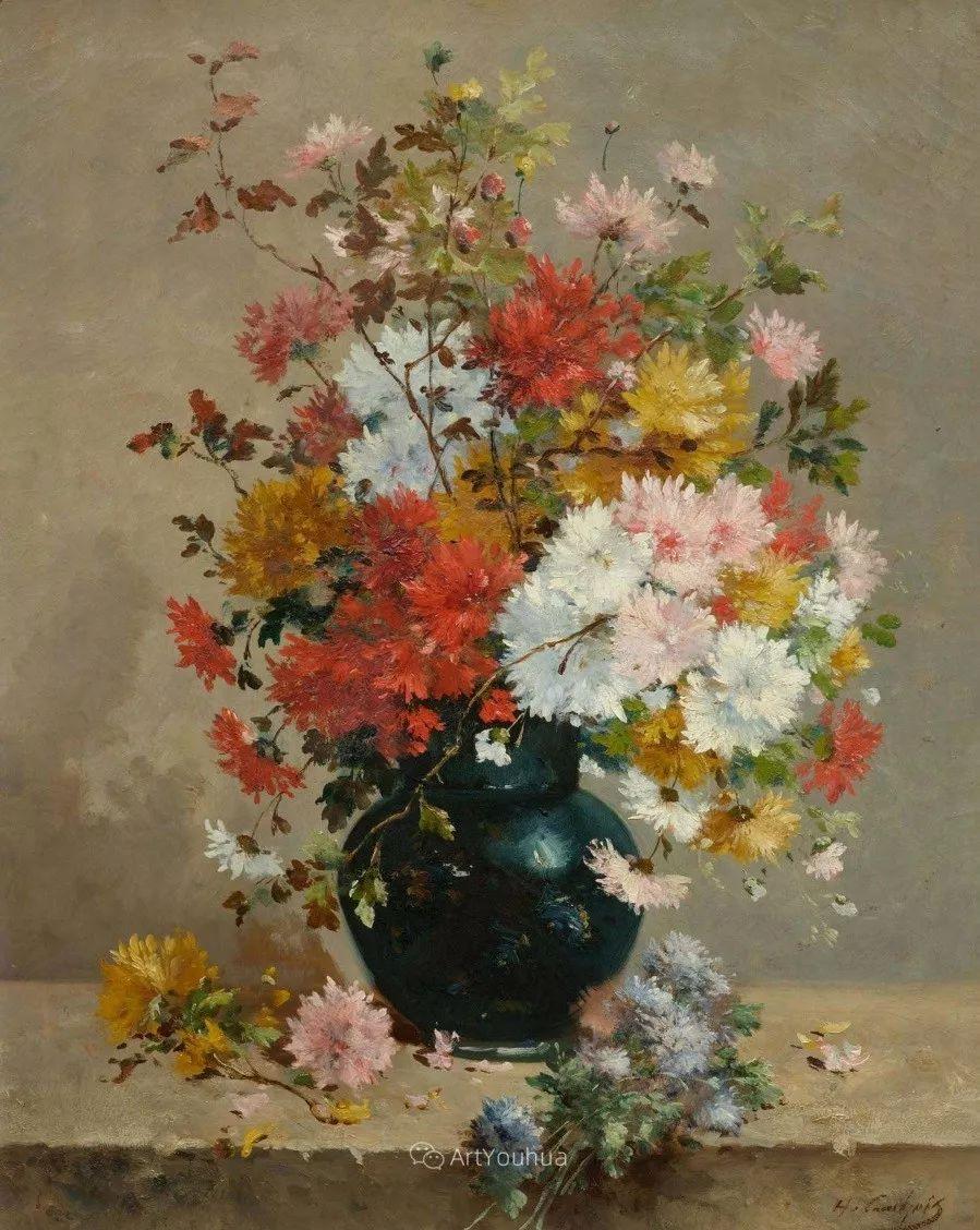他对浪漫主义情有独钟,花卉很赞!法国Eugène Henri Cauchois插图29