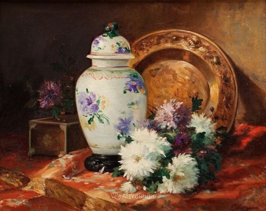 他对浪漫主义情有独钟,花卉很赞!法国Eugène Henri Cauchois插图32
