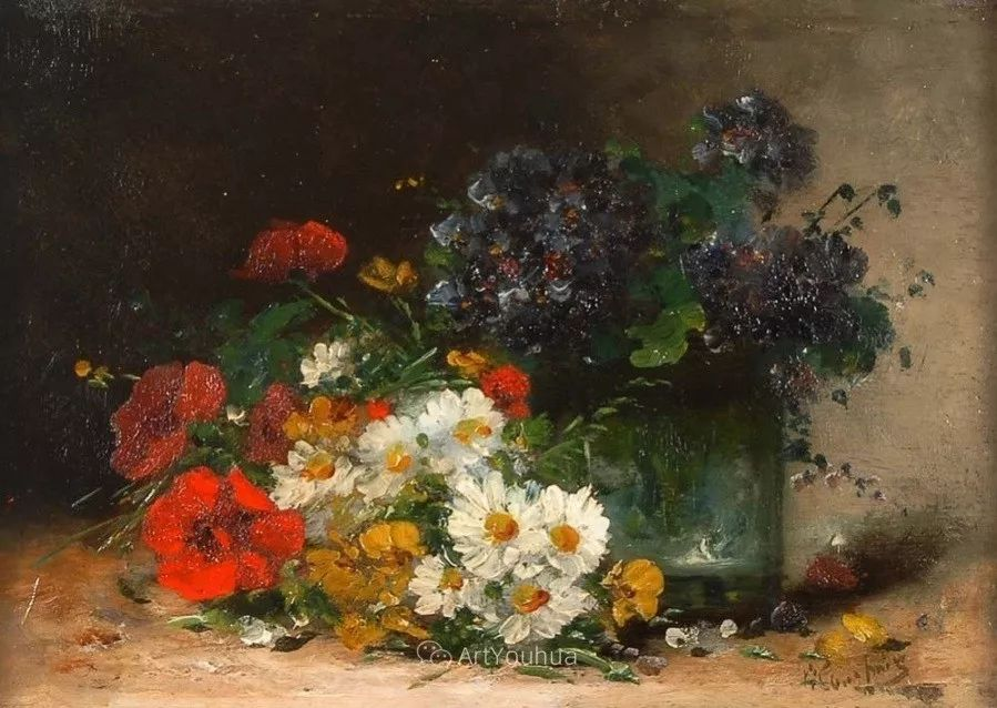 他对浪漫主义情有独钟,花卉很赞!法国Eugène Henri Cauchois插图33