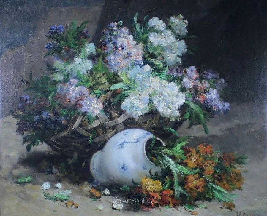 他对浪漫主义情有独钟,花卉很赞!法国Eugène Henri Cauchois插图35