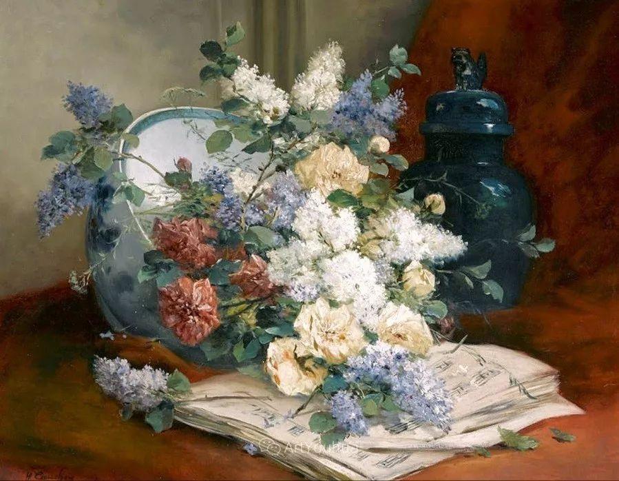 他对浪漫主义情有独钟,花卉很赞!法国Eugène Henri Cauchois插图36