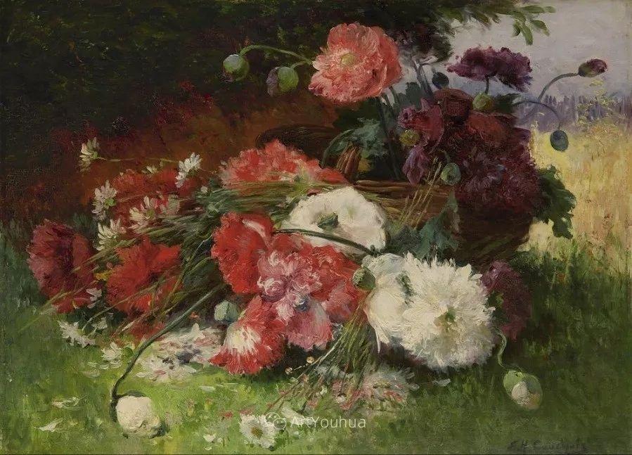 他对浪漫主义情有独钟,花卉很赞!法国Eugène Henri Cauchois插图37