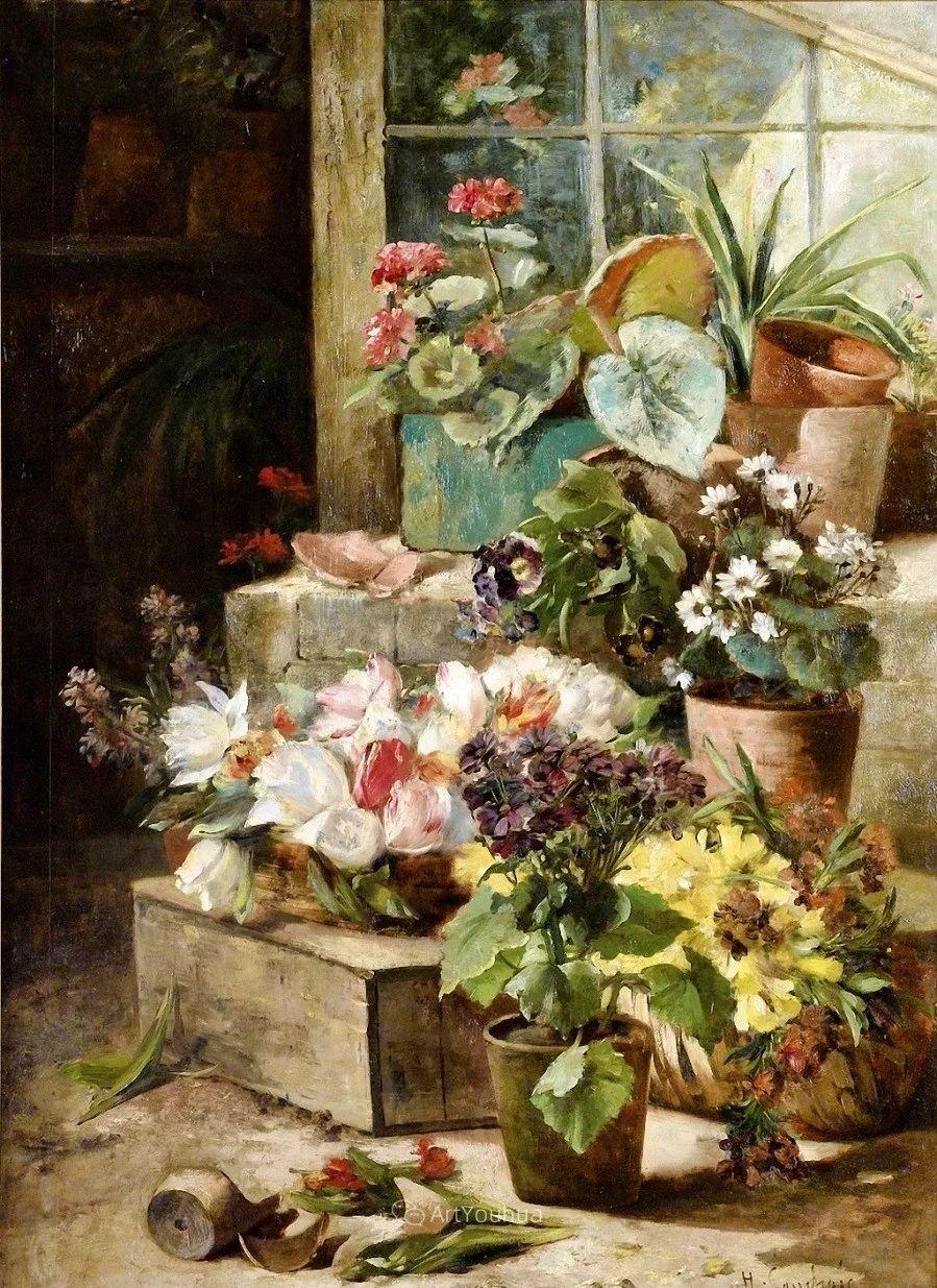 他对浪漫主义情有独钟,花卉很赞!法国Eugène Henri Cauchois插图39