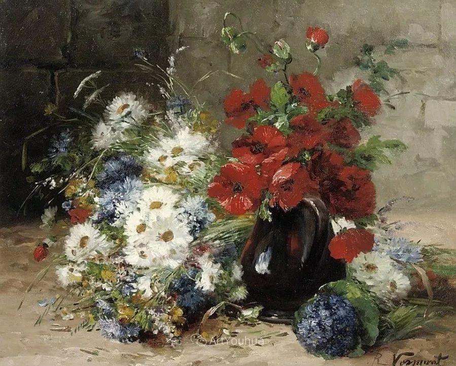 他对浪漫主义情有独钟,花卉很赞!法国Eugène Henri Cauchois插图40