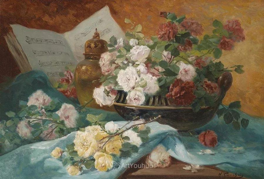 他对浪漫主义情有独钟,花卉很赞!法国Eugène Henri Cauchois插图42