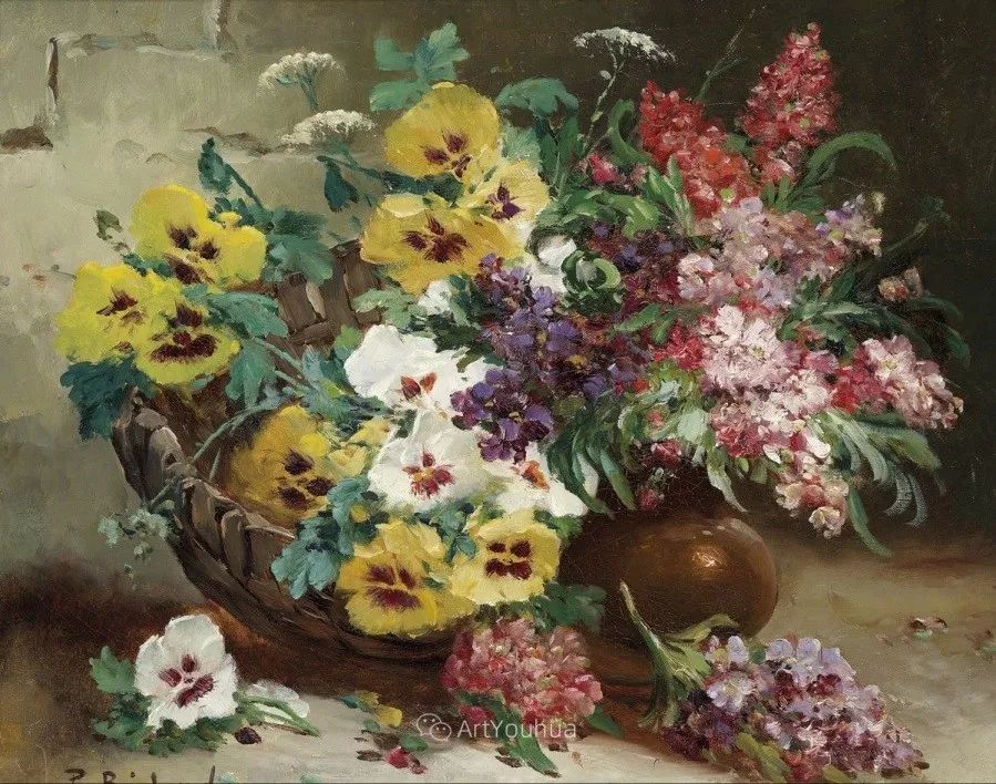 他对浪漫主义情有独钟,花卉很赞!法国Eugène Henri Cauchois插图48