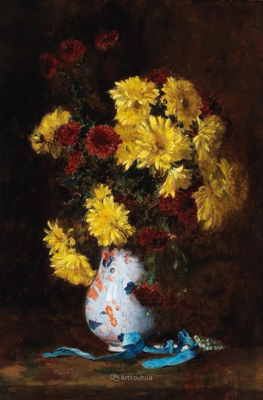 他对浪漫主义情有独钟,花卉很赞!法国Eugène Henri Cauchois插图49
