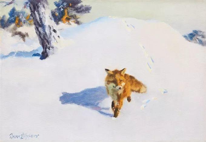 著名野生动物画家,瑞典Bruno Liljefors插图