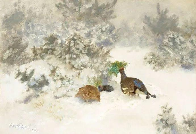 著名野生动物画家,瑞典Bruno Liljefors插图4