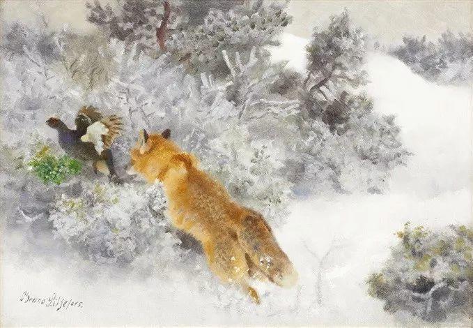 著名野生动物画家,瑞典Bruno Liljefors插图5