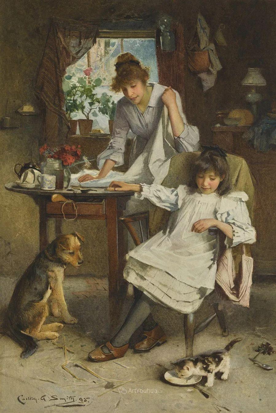 19世纪后期家庭生活场景,英国艺术家Carlton Alfred Smith插图3