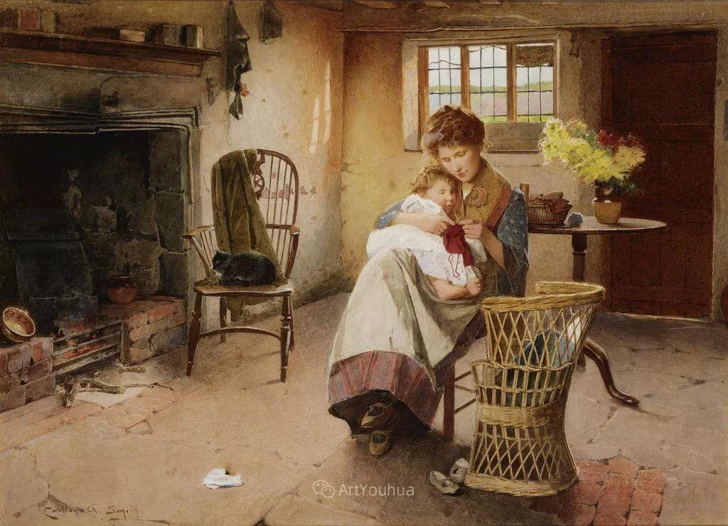 19世纪后期家庭生活场景,英国艺术家Carlton Alfred Smith插图5