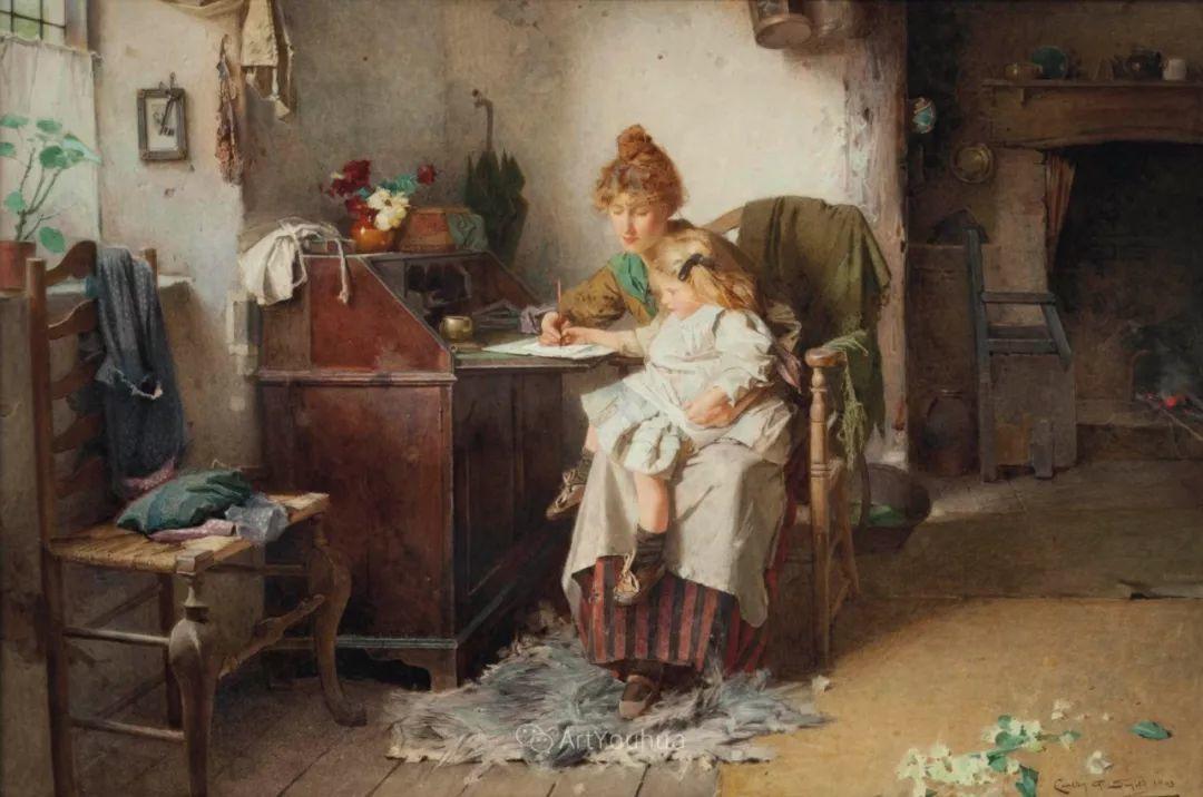 19世纪后期家庭生活场景,英国艺术家Carlton Alfred Smith插图7