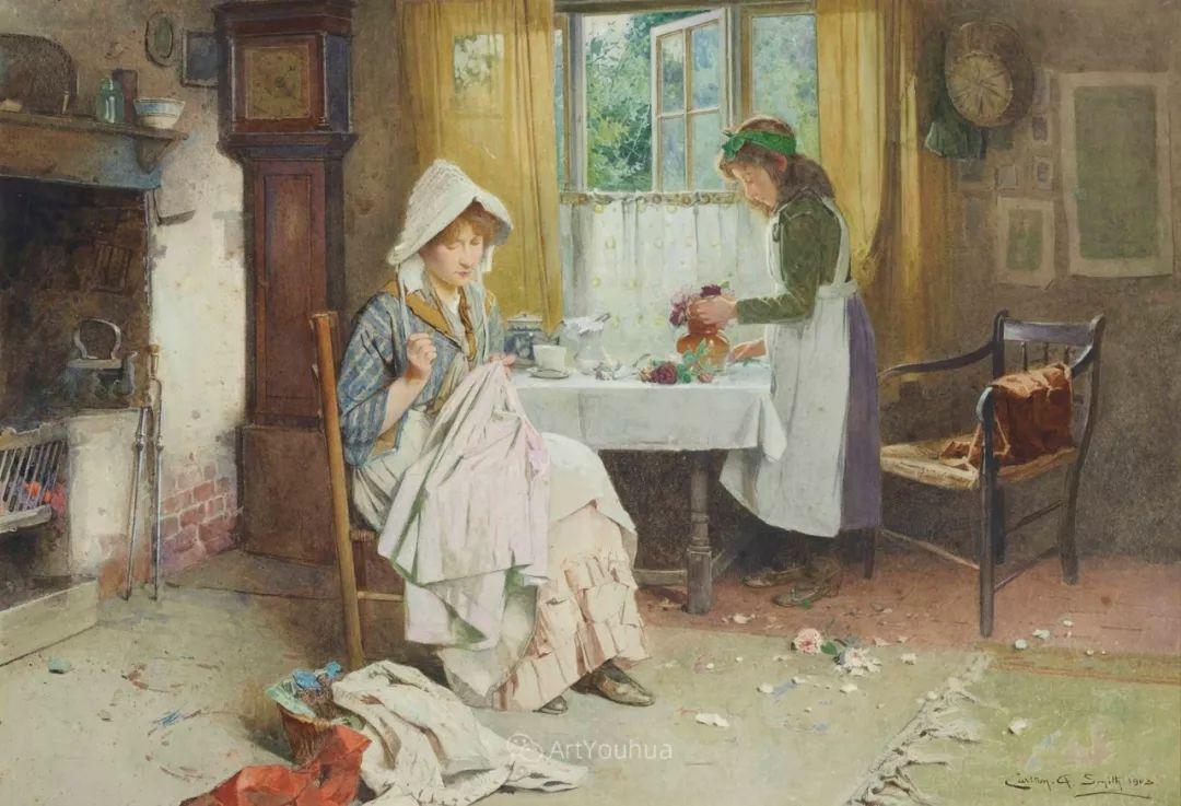 19世纪后期家庭生活场景,英国艺术家Carlton Alfred Smith插图11