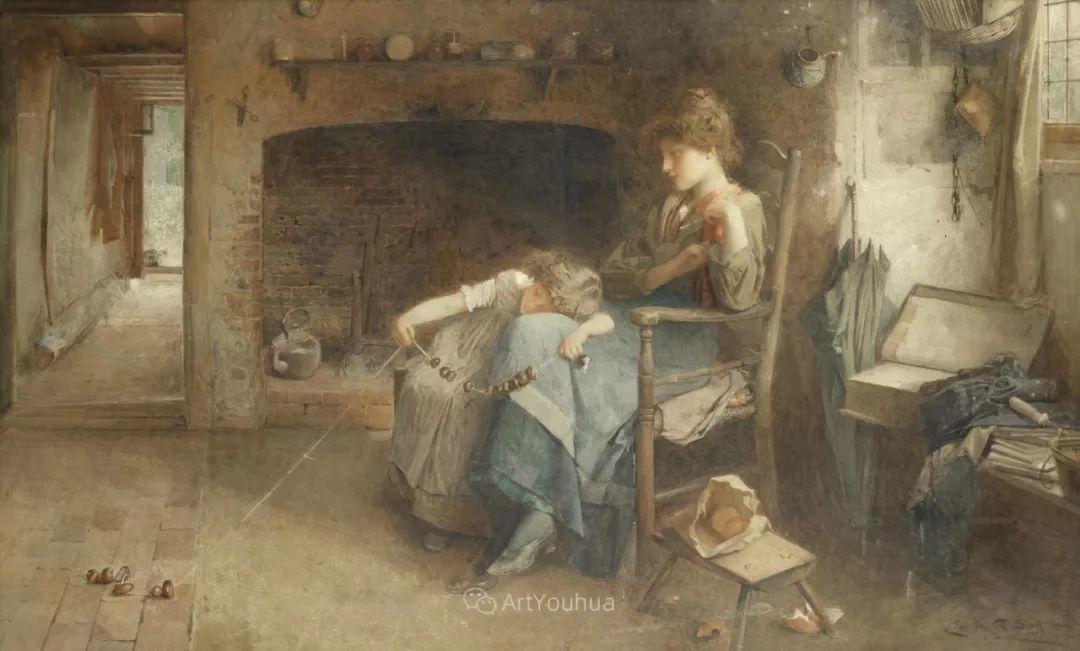 19世纪后期家庭生活场景,英国艺术家Carlton Alfred Smith插图15