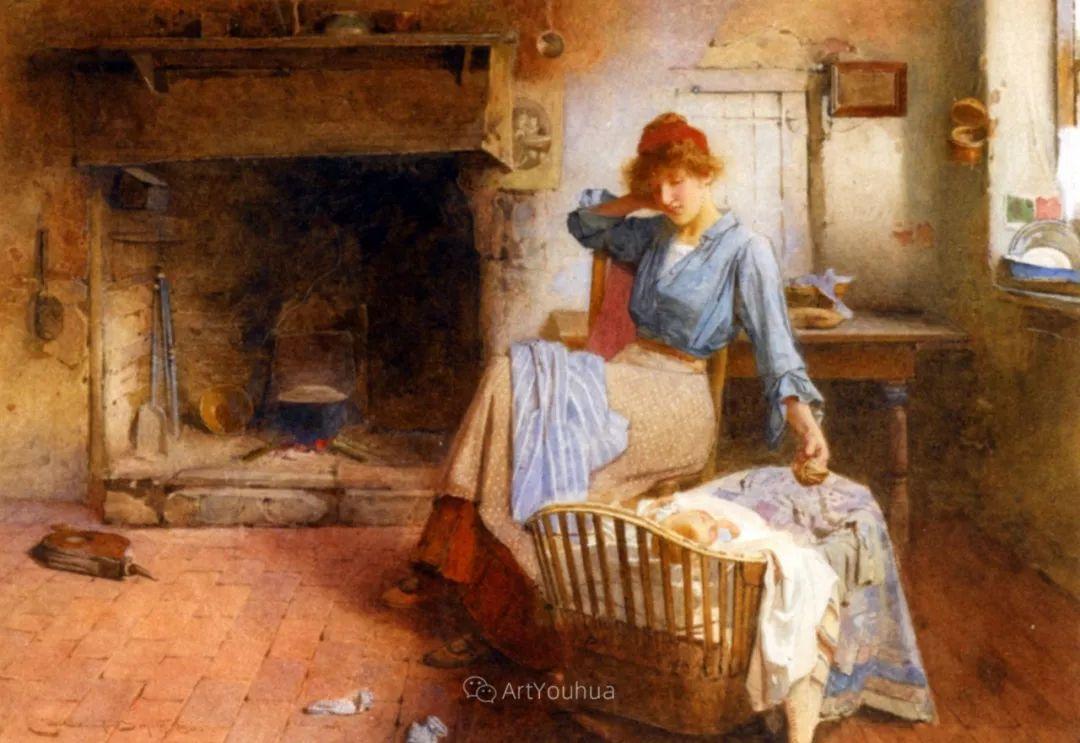 19世纪后期家庭生活场景,英国艺术家Carlton Alfred Smith插图17