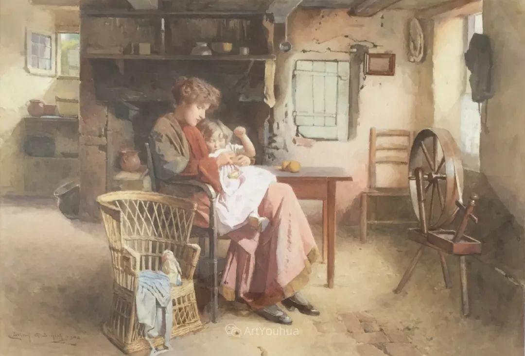 19世纪后期家庭生活场景,英国艺术家Carlton Alfred Smith插图19