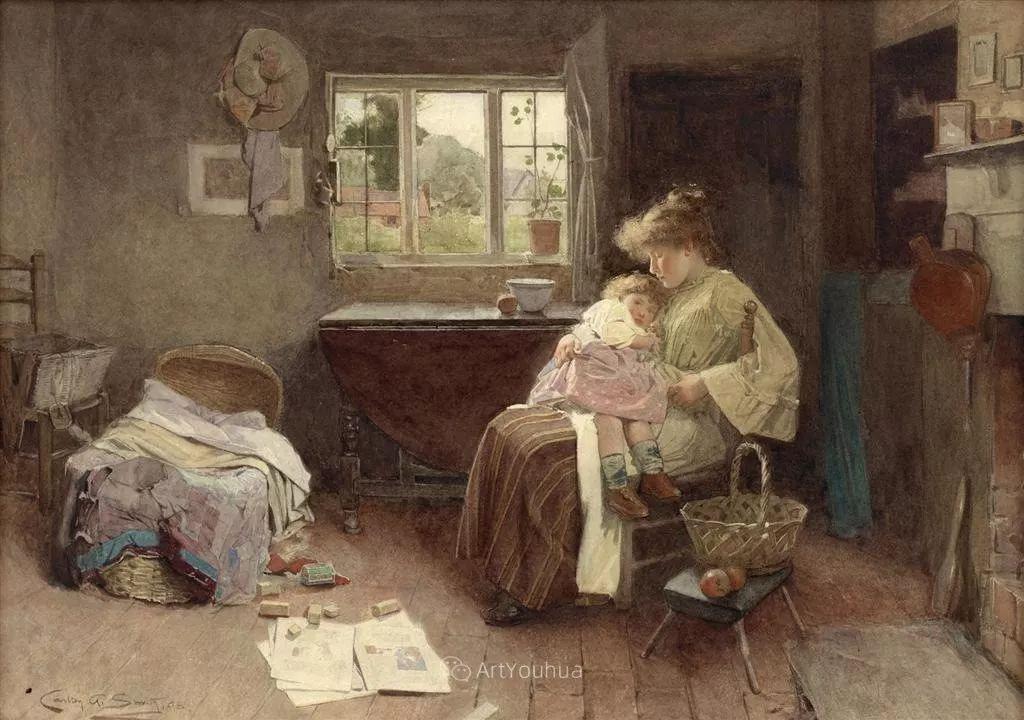 19世纪后期家庭生活场景,英国艺术家Carlton Alfred Smith插图21