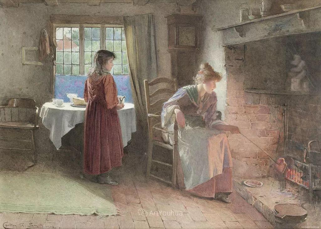 19世纪后期家庭生活场景,英国艺术家Carlton Alfred Smith插图27