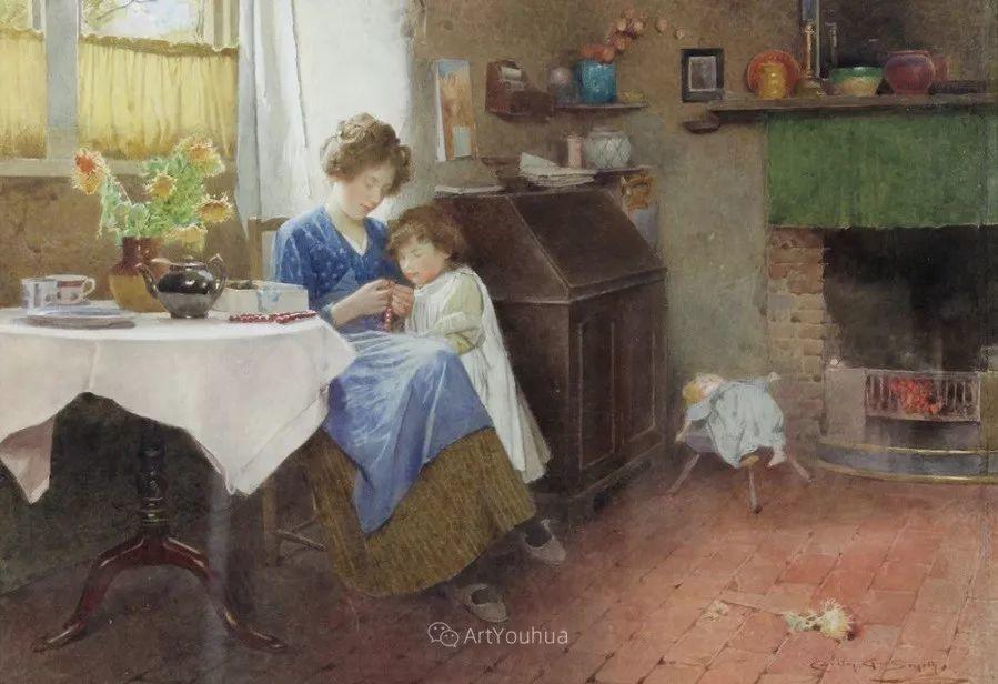 19世纪后期家庭生活场景,英国艺术家Carlton Alfred Smith插图33
