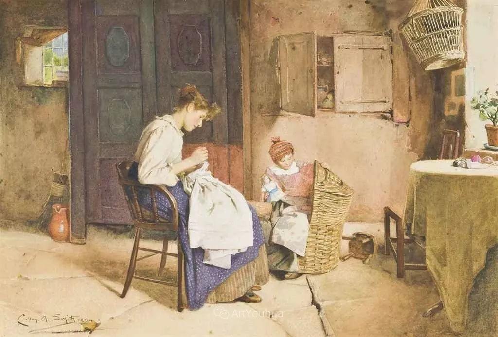 19世纪后期家庭生活场景,英国艺术家Carlton Alfred Smith插图48