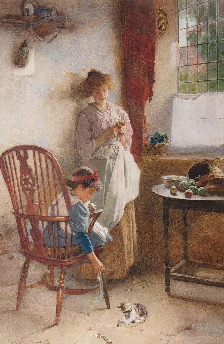 19世纪后期家庭生活场景,英国艺术家Carlton Alfred Smith插图51