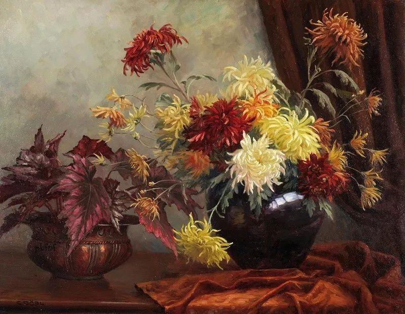 很棒的静物花卉,奥地利画家Camilla Göbl-Wahl插图