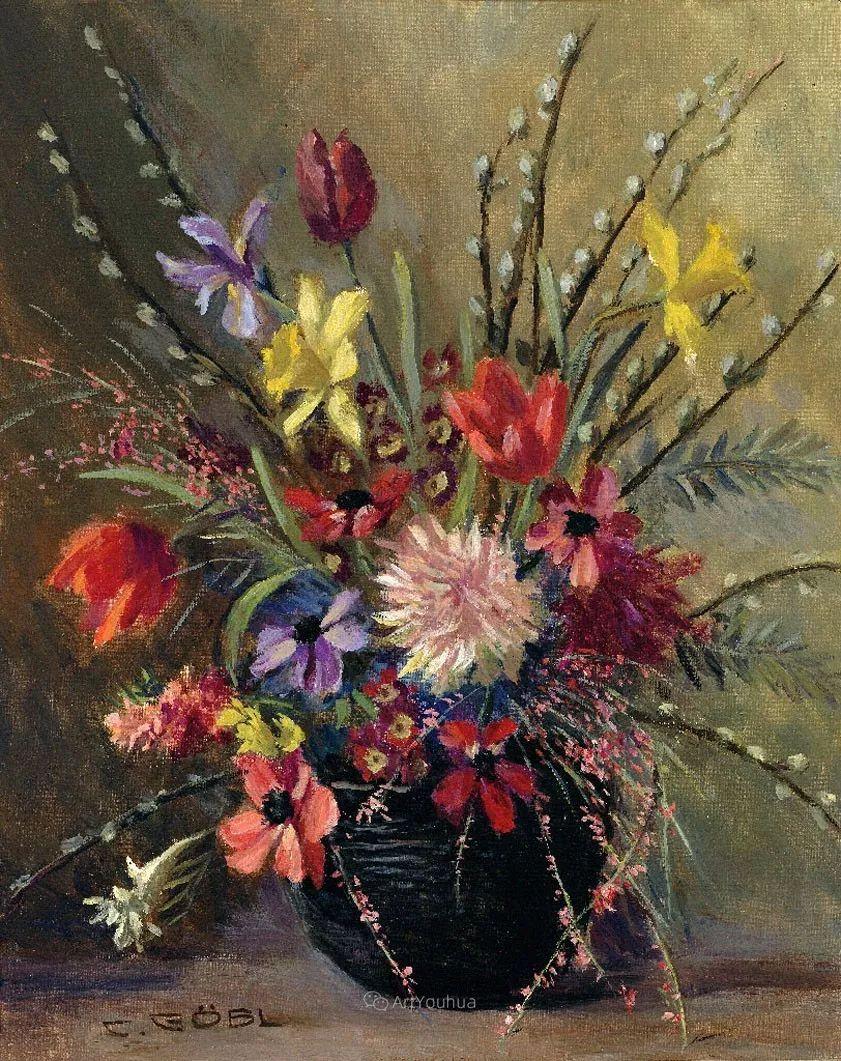 很棒的静物花卉,奥地利画家Camilla Göbl-Wahl插图14